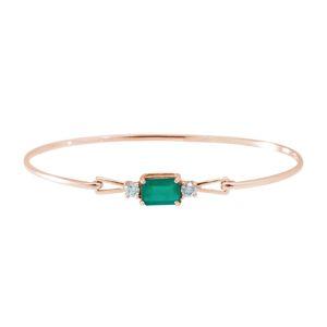 Zlatý náramek se smaragdem a diamanty KLENOTA