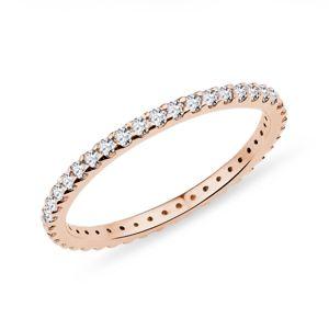 Diamantový eternity prsten v růžovém zlatě KLENOTA