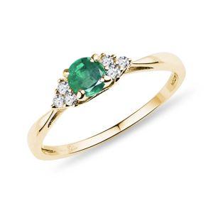 Prsten se smaragdem a diamanty KLENOTA