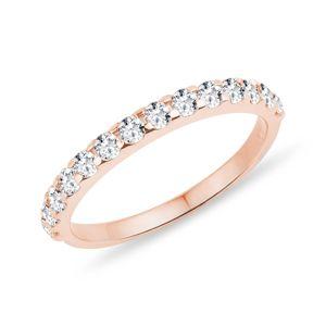 Diamantový snubní prsten z růžového zlata KLENOTA