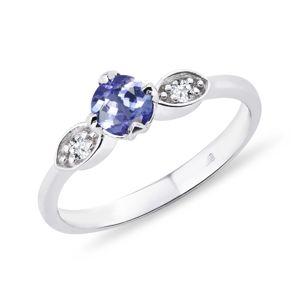 Tanzanitový prsten s diamanty KLENOTA