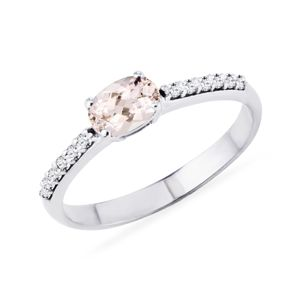 Morganitový prsten s diamanty v bílém zlatě KLENOTA