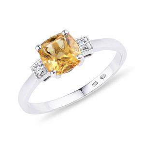Stříbrný prsten s citrínem KLENOTA