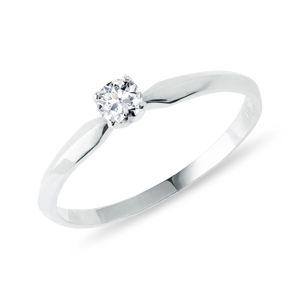 Zásnubní prstýnek s briliantem v bílém zlatě KLENOTA