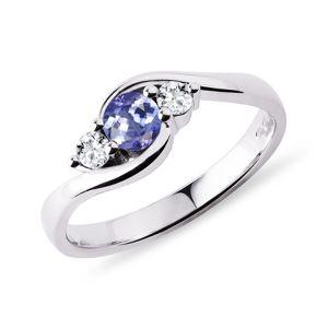 Zlatý prsten s tanzanitem a diamanty KLENOTA