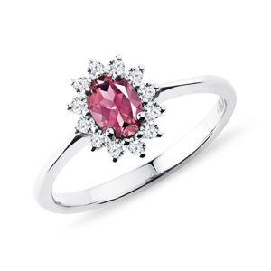 Prsten s turmalínem a diamanty v bílém zlatě KLENOTA