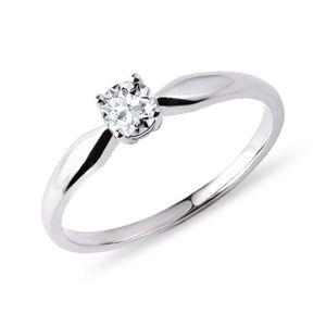 Prsten s briliantem v bílém zlatě KLENOTA