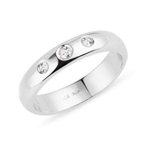 Prsten z bílého zlata se třemi diamanty KLENOTA