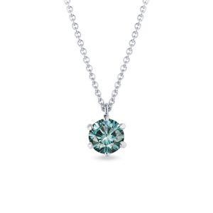 Náhrdelník z bílého zlata s modrým diamantem KLENOTA