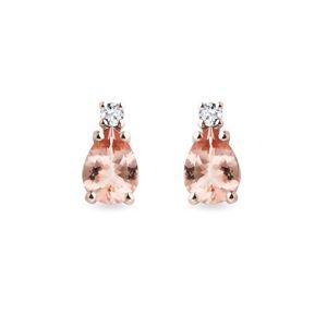 Morganitové náušnice s diamanty v růžovém zlatě KLENOTA