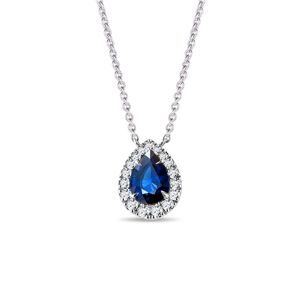 Elegantní diamantový náhrdelník se safírem v bílém zlatě KLENOTA