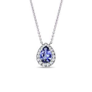 Elegantní diamantový náhrdelník s tanzanitem v bílém zlatě KLENOTA
