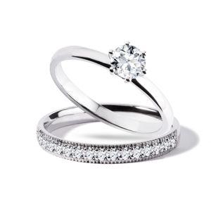 Set zásnubního a snubního prstenu v bílém zlatě KLENOTA