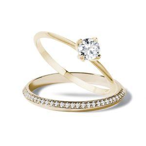 Diamantová zásnubní souprava ze žlutého zlata KLENOTA