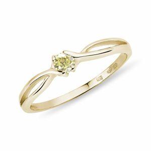 Prsten ze žlutého zlata se žlutým diamantem KLENOTA