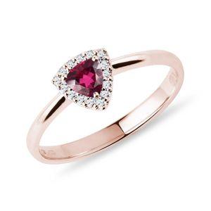 Prsten s rubelitem a brilianty v růžovém zlatě KLENOTA